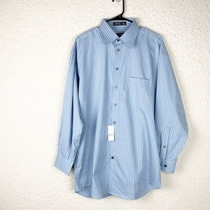 Claiborne Blue Striped Collared Button Up Large